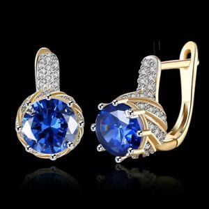 18K REAL GOLD FILLED HOOP EARRINGS MADE WITH BLUE SWAROVSKI CRYSTALS GIFT GF12