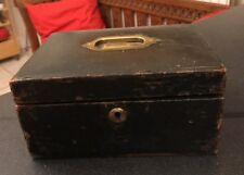 Antique Brass Victorian Leather Tooled Jewel Jewellery Box For restoration