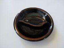 """Japanese 3.75""""D Incense Burner Stand Holder Tenmoku Leaf, Plate/ Made in Japan"""