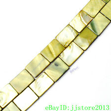 """15x20mm Natural Green Shell MOP Rectangle Shape Gemstone Loose Beads Strand 15"""""""