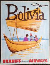 Original Travel Poster BOLIVIA Braniff Airways Vintage Airline Art Lake Titicaca