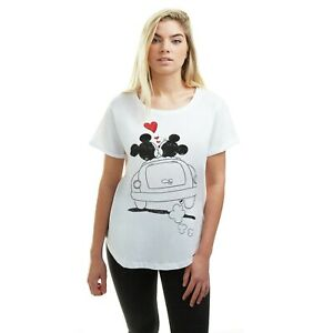 Official Disney Ladies - Mickey & Minnie Mouse Hearts - T-shirt - White