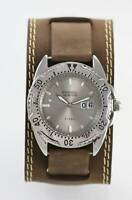 Fossil Watch Mens Brown Wide Leather Stainless Silver Date 100m Water Res Quartz