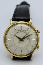 VINTAGE 18K GOLD JAEGER-LECOULTRE MEMOVOX ALARM WATCH WORKS WELL 34.8 MM P489/1