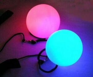 LED Poi balls Pair - flow arts - Beginners - 6 modes, rave, light - STURDIER
