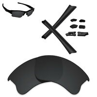 Hawkry Polarized Replacement Lenses & Black Kit for-Oakley Flak Jacket XLJ - Opt