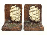 Vintage Spanish Clipper Ship Galleon Sailboat Cutty Shark Boat Nautical Bookends