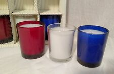 6 Glass Votive Candles Holders Red Blue White Patriotic Decorations America