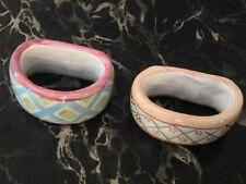 Set of 2 Mackenzie-Childs Pottery Maddox Wallcourt Napkin Rings More Available