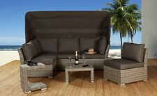 Loungeecke Rabida champagner 5tlg Lounge Polyrattan Muschel-Set Gartenmöbel