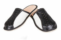 Mens Leather Slippers Mules Black & White Size6 7 8 9 10 11 12 Flip Flop Sandals