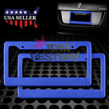 2Pcs Plastic Blue Carbon Fiber Style License Plate Frames Front & Rear Bracket