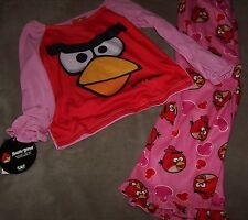 NWT ANGRY BIRDS Pink Polyester 2 pc PAJAMAS GYMMIES Size 4
