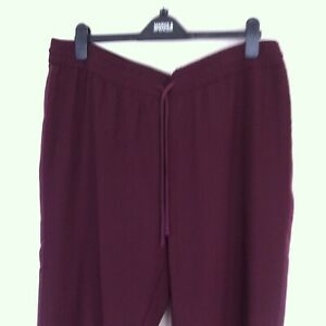 M&S Collection Berry Wide Leg Dress Trousers Tie waist Elasticated UK18Long