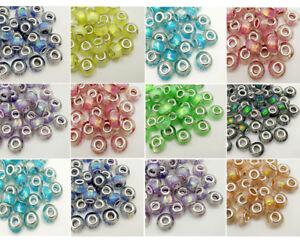 50pcs Colorful big hole Charm beads Fit DIY European Bracelet Jewelry beaded