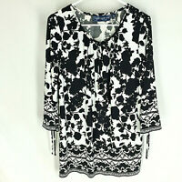 Susan Graver Printed Liquid Knit Bell Sleeve Peasant Top Size Small Black White