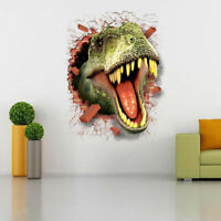 3D View Dinosaur Kids Room Wall Sticker Home Boy Decor Decal Mural Art