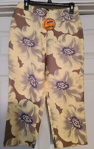 Jamie Sadock Capri Pants Golf Womens 8 Zipper Pockets NWT Yellow Floral