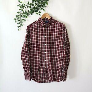 Ralph Lauren Boys' Long Sleeve Button Front Plaid Shirt XL 18-20 Red Black