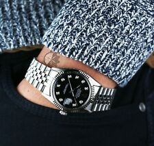Authentic Rolex Mens Datejust 16014  Steel Black Dial Fluted Bezel  36mm Watch