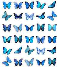 30 x Butterflies Blue Edible Cupcake Toppers Wafer Paper Fairy Cake Topper
