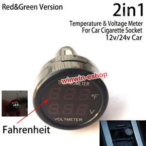 Temperature Volt Combo meter Car Accessory Cigarette lighter DC 12v 24v Batterie