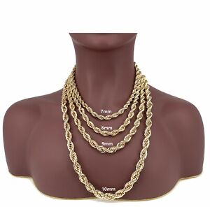 14k Yellow Rope Chain Necklace Bracelet Run DMC 7mm 8mm 9mm 10mm Gold Plated