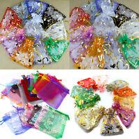 20/50/100Pcs Organza Jewelry Pouch Wedding Party Favor Gift Bag 7x9/12x9/13x18CM