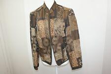 Renaissance Women's Size Large Brown & Gold Open Front Tapestry Mandarin Jacket