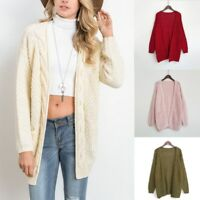 Women's Retro Open Front Chunky Warm Cardigans  Cozy Sweater Fashion Long Sleeve
