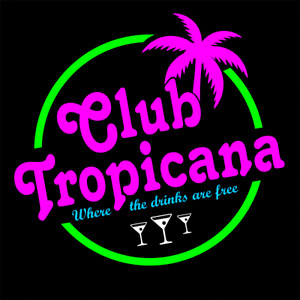 Club Tropicana 80's Retro Drinks are Free Cocktail Bar Plastic Wall Sign ManCave