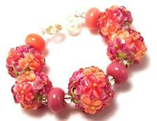 HANDMADE SRA Lampwork Glass Beads Shades of Raspberry Sorbet Floral Bead Set 9