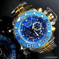 Invicta Sea Hunter III Blue 70mm Full Swiss Movt Two Tone Gold Plated Watch New
