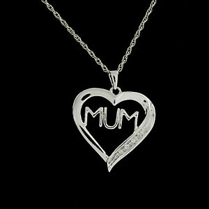 Natural Diamond Mom Heart Pendant Necklace 10k Gold Over 925 Sterling Silver