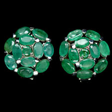 NATURAL GREEN EMERALD STERLING 925 SILVER EARRINGS