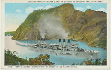 WWI mint postcard French Cruiser JEANNE D'ARC in Gaillard Cut, Panama Canal