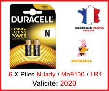 6 Piles DURACELL N / MN9100 / LR1 /  E90 / N LADY - 1,5V DLC 2020