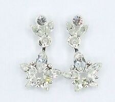 Givenchy Silvertone Clear Rhinestone Earring Dangles, Posts Signed