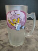 "THE SIMPSONS HOMER DUFF BEER TANKARD 2001 FROSTED GLASS MUG 20 OZ 8"" DOWNPACE"