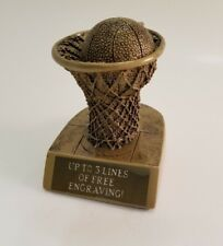 Gold Basketball Net Resin Trophy! Free Engraving! Ships In 1 Business Day!