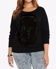 Torrid Skull Gemstone Sweater Shirt Blouse Black Size: 0 or 12 #36555