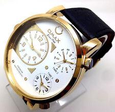 287Q OMAX Men's  Big Chunky Wrist Watch 3 White Dials Quartz Black Leather Strap