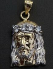 Real 14K Yellow White Gold CZ Religious Jesus Face Pendant Charm