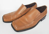Mens EC Collection Tan Brown Leather Dress Shoes Loafers Size 11 Slip On