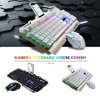 USB LED Colorful Backlight Gaming Wired Keyboard and Mouse Backlit Mice for PC