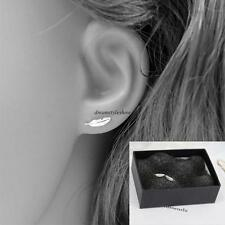 Fashion Korean Womens 925 Sterling Silver Mini Feather Ear Studs Earrings Gift