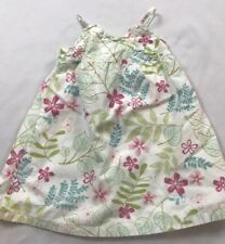 Janie And Jack 3-6 Months White Multi-colored Floral Cotton Sleeveless Sun Dress