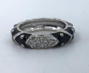 Hidalgo 18k White Gold & Black Enamel Diamond Cluster Band Ring
