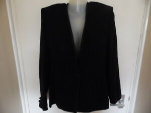 Ladies Black Long Sleeve, V Neck, Button Up, Lined Dress Jacket Size 10