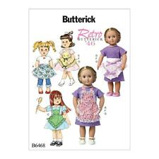 BUTTERICK SEWING PATTERN RETRO 1946 18 INCH DOLL APRONS & DRESS OSZ B6468